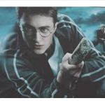 Harry Potter riding broom playing Quidditch