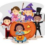 cartoon children in halloween costumes