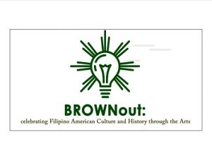 Light bulb graphic and word BROWNout! symbolizing Filipino-American History Month