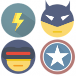 Four super hero symbols: lightning bolt in shield, batman, cyclops, and star shied.