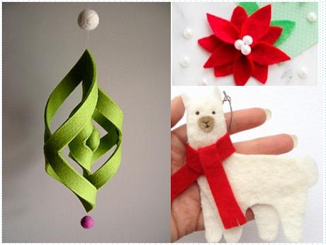 Three Holiday Felt Ornaments