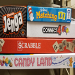 Stack of boxed games