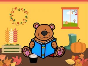 Autumn Fall Thanksgiving Story Time Bear Reading Blue Book