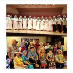 Stacked color group photos of musical groups Kapolei Chorale and Pono Wahine Kane 'Ukulele Ensemble