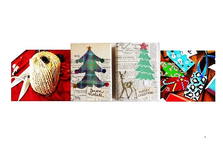tools, wrapped gifts and tags