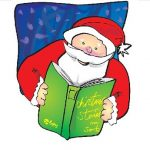 picture of Santa Claus reading a green book