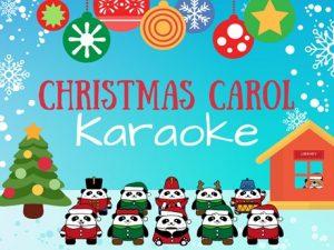 Christmas Carol Karaoke Panda Bear Carolers Outside Library in the Snow