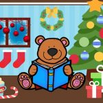 Christmas Story Time Bear Reading a Blue Book