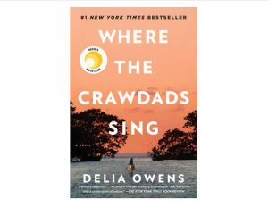 Where the Crawdads Sing book cover featuring a girl paddling down a river surrounded by trees under an orange sky