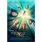 Cover art for the movie A Wrinkle in Time, featuring the faces of the main cast looking down from above while forming a circle, with a solitary male figure in the center.