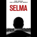 Cover art for the movie Selma. Profile of a black man as seen from behind addressing a crowd in front of him.