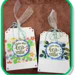 """two paper craft tea totes, one pink and one blue. both have """"you are tea-rrific"""" stickers"""