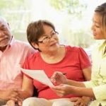 Older couple working on legal documents