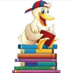Duck and Books Clip Art