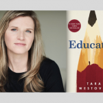 Cover art of the book Educated, featuring a image of a sharpened pencil, next to a photograph of the author, Tara Westover.