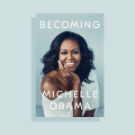 Cover art of the book Becoming, featuring a photograph of the author, Michelle Obama, smiling.
