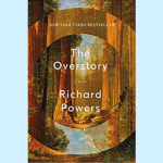 Cover art for the book The Overstory by Richard Powers, featuring stylized imagery of trees and concentric circles.