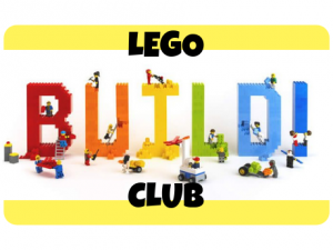 Text says LEGO Build Club. The word build is made of actual LEGOs with minifigures positioned as though building the word.