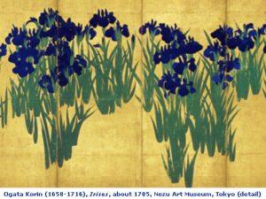 painting Irises by Ogata Korin