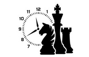 Grpahic of chess pieces and clock