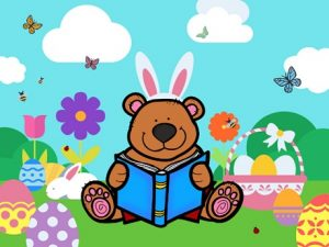 Story Time Bear with Bunny Ears Surrounded by Flowers and Eggs