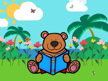 Story Time Bear on green grass with background flowers, palm trees, and ocean