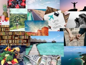 Travel food and health pictures for a vision board
