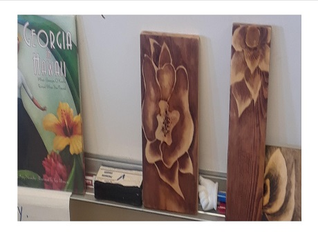 stained wood blocks