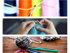 pictures of a sewing needle with thread, knitting, and crochet