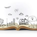open book with illustrated 3D pictures
