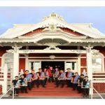 Kona Daifukuji Taiko group on steps of mission