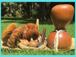 Photography of drums and implements used in hula.