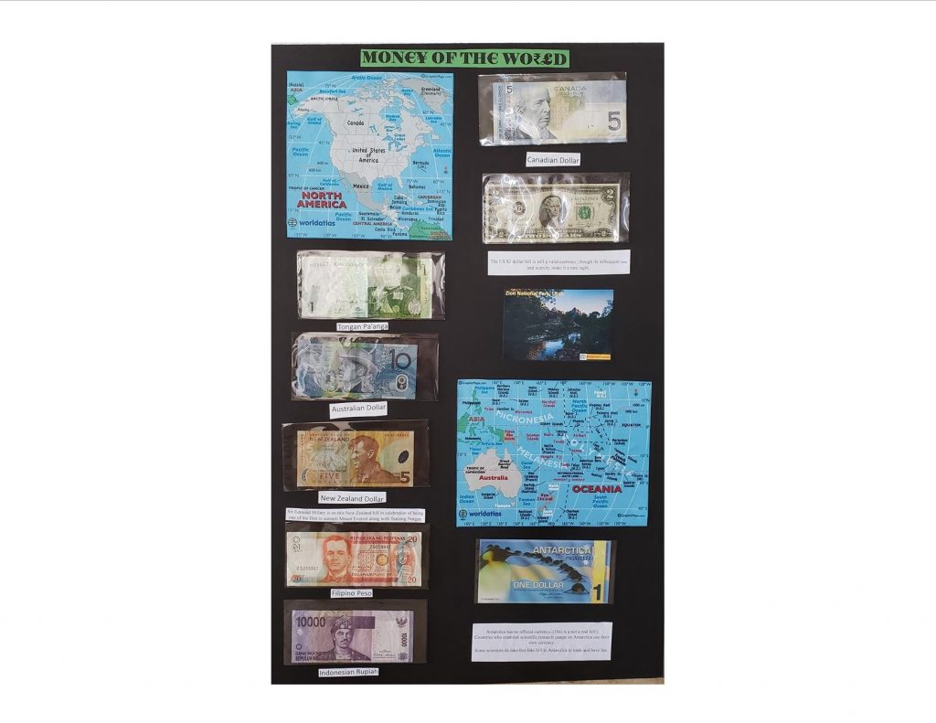 "Display board titled ""Money of the World"" showing 8 currencies and regional maps"