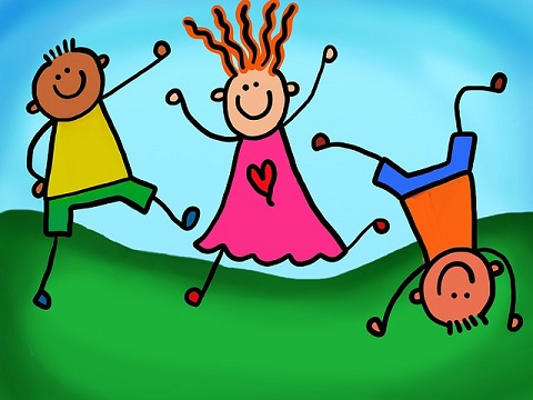 Colorful cartoon kids jumping