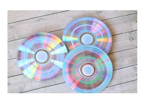 spinning CDs with colorful designs