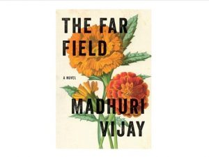 Book cover with title in bold and orange and red flowers as background