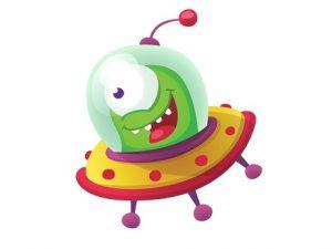 Green alien in flying saucer