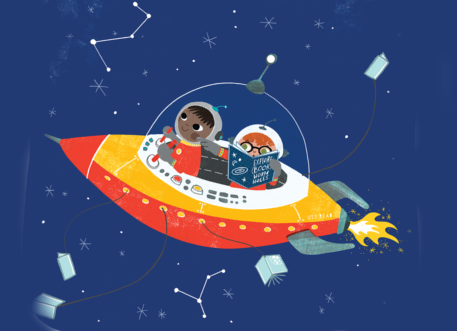 two astronauts in a spaceship