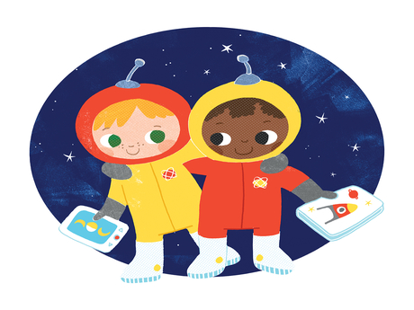 Two astronaut children being friends and holding books