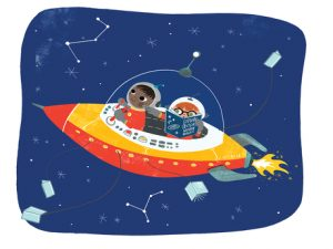 Two astronauts in spaceship