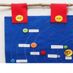 Hand sewn felt solar system with plastic buttons