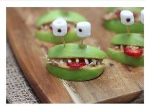 Apples and peanut butter alien snacks