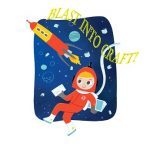 Keiki astronaut watching a space rocket fly by with program title above