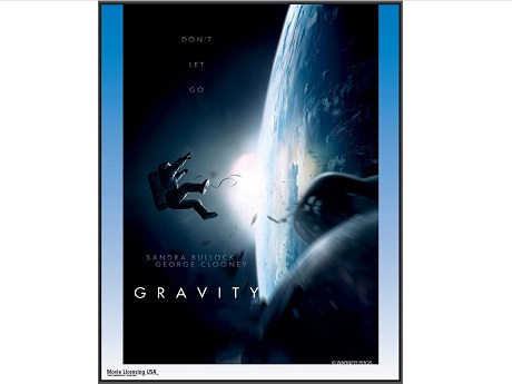 Film poster for Gravity with an astronaut hovering above Earth surrounded by space debris