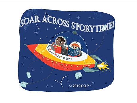Two keiki in a rocket ship, one piloting and the other following directions from a book
