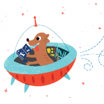 dog reading in space ship
