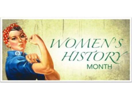 Rosie the Riveter banner with Women's History month lettering