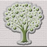 drawing of green tree filled with spherical fruit