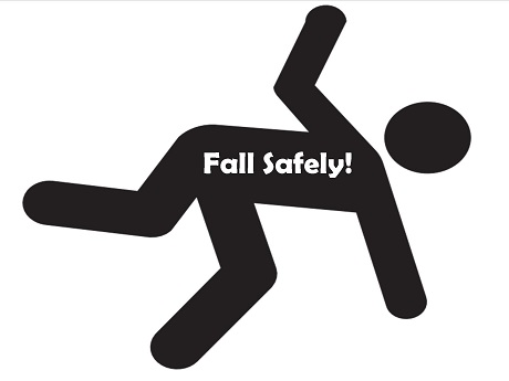 """silhouette image of person falling with white lettering on torso that says """"fall safely"""""""