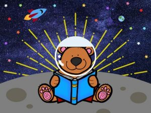 Story Time Bear with an Astronaut Helmet Sitting on the Moon
